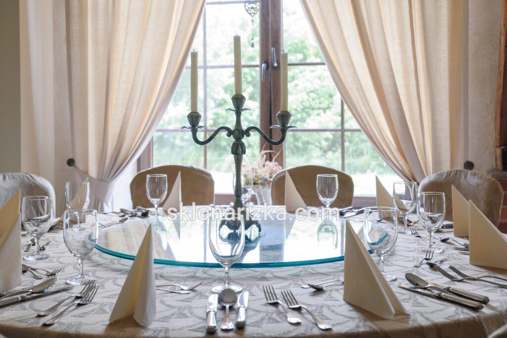Кругла скляна столешня на стіл