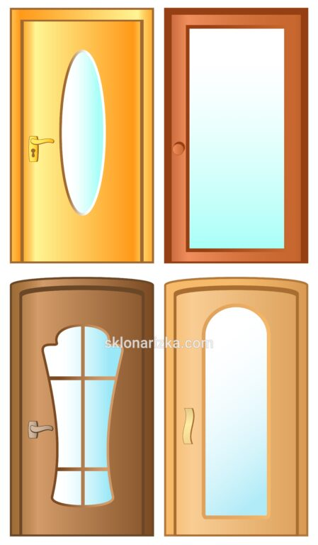 Різноманітні форми шаблонів для подальшої порізки скла у міжкімнатні двері