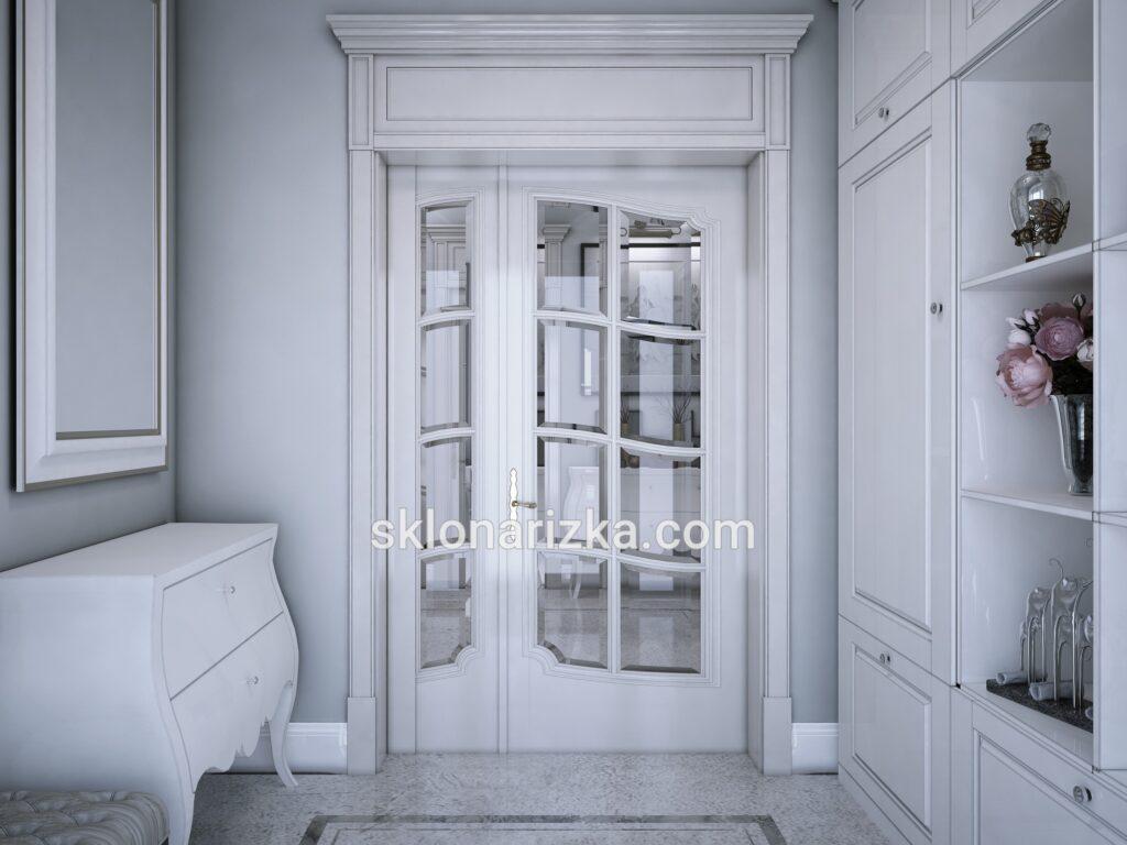 Віконне скло з криволінійним фацетом у двері_