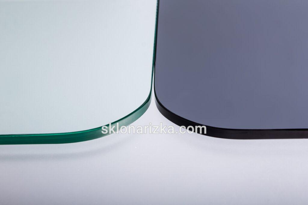 Притуплення кутів на прозорому та тонованому склі з обробкою_