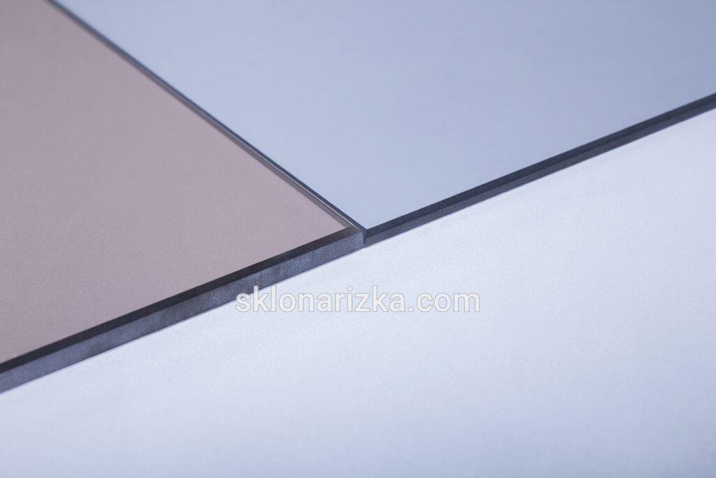 Шліфування кромки тонованого скла бронза 6 мм та тонованого скла графіт 4 мм_