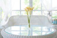 Скляна столешня на ротангових меблях