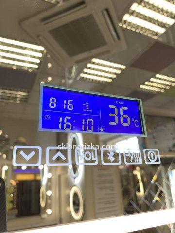 Дзеркало з зовнішньою чи внутрішньою LED-підсвіткою (з Bluetooth, FM-радіо і підігрівом) (220V) + годинник, дата, і температура